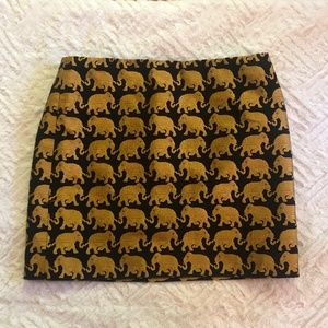 JCrew Elephant Black and Gold Shiny Miniskirt
